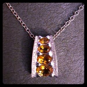 NEW - Sterling Silver, Citrine & Diamond Necklace